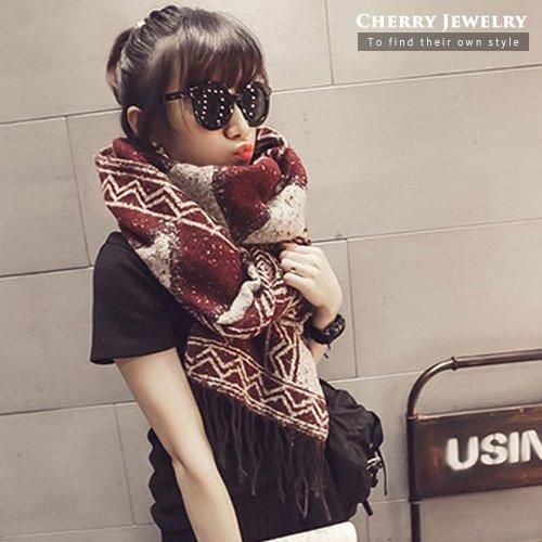 幾何菱格流蘇造型圍巾10219【櫻桃飾品】【10219】