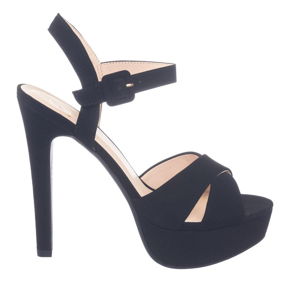 f45cfa9cd08 Eyewear Black Nubuck by Delicious High Heel Platform Open Toe Criss Cross  Sandal In Solid