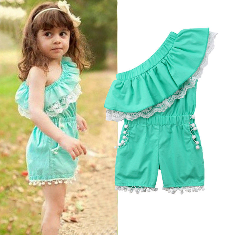c9040b07add Kids Baby Girls Off shoulder Lace Romper Jumpsuits Palysuit Outfits Clothes  1