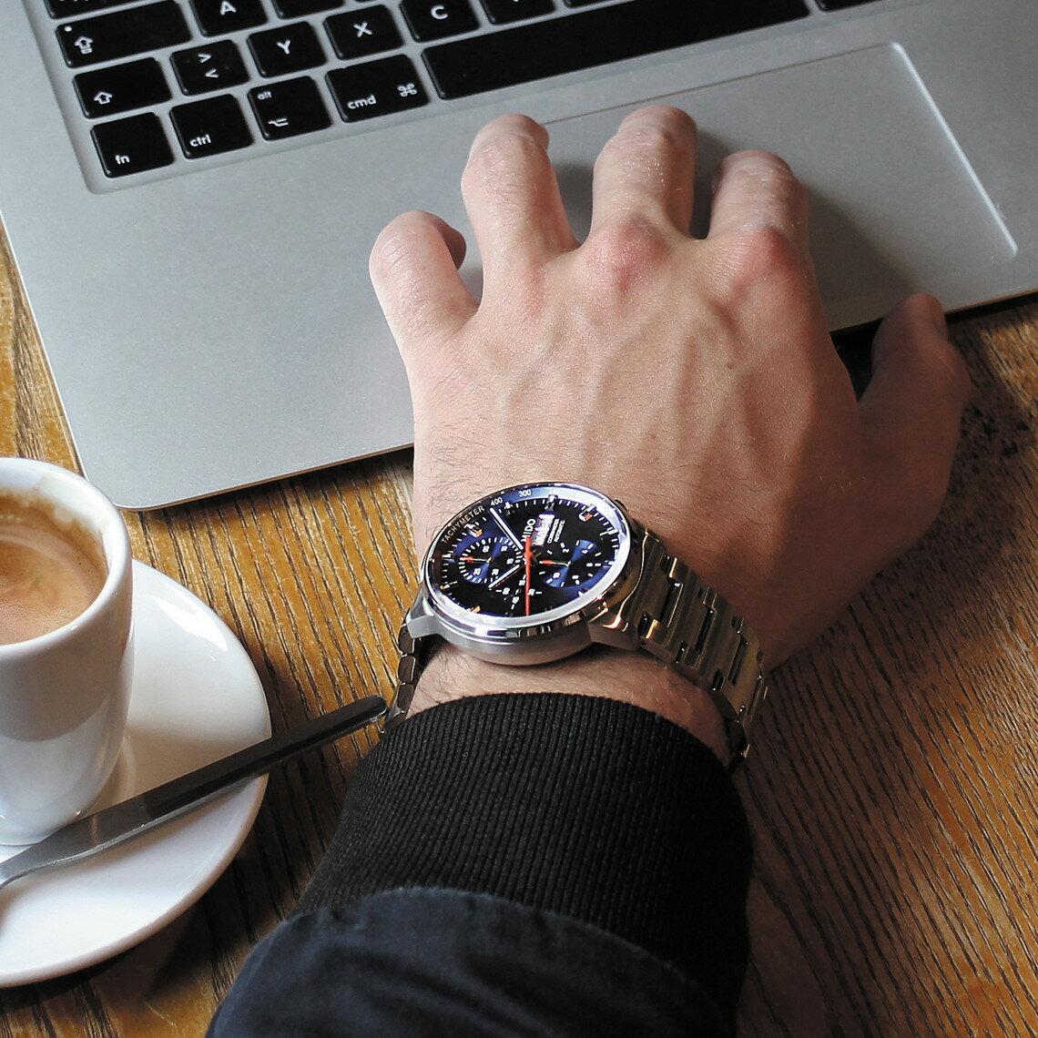 MIDO 美度 M0164141104100 Commander 指揮官系列機械腕錶 藍 銀 42.5mm 3