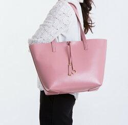 【le Lufon】 粉紅色荔枝紋皮革輕巧實用感大容量簡約設計兩用子母肩背包 托特包(L) 肩背包/手提包/手拿小包(粉紅/粉紫/灰色三色)