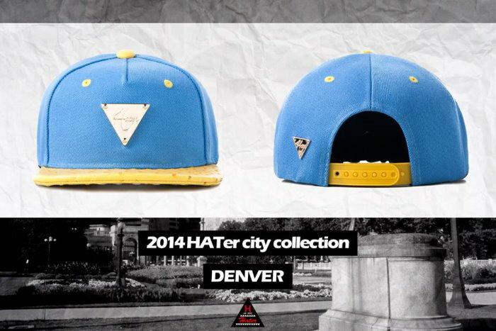 ►法西歐_桃園◄ HATer Snapback 美國城市系列排扣棒球帽 撞色 鴕鳥紋帽簷 CITY 丹佛DENVER 藍 黃
