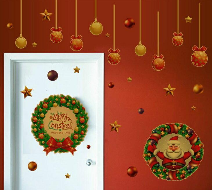 【壁貼王國】 耶誕系列 無痕壁貼 《聖誕花環 - ABQ5002》