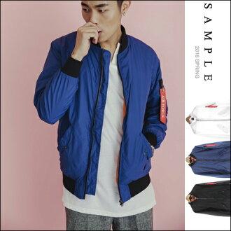 台灣設計款 短版夾克 MA-1款滑面尼龍風衣外套【OS15926】- SAMPLE