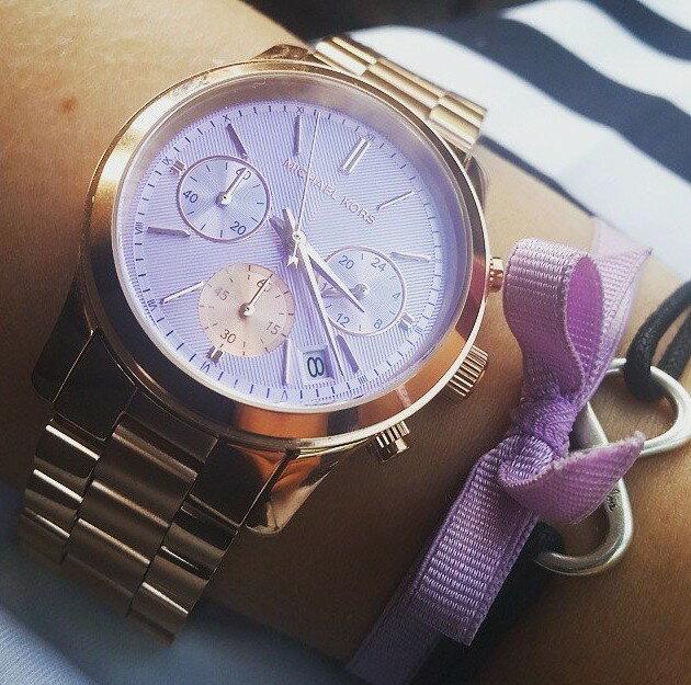 美國Outlet 正品代購 Michael Kors MK 三環 螢光紫精鋼 滿鑽 手錶 腕錶 MK6163 8