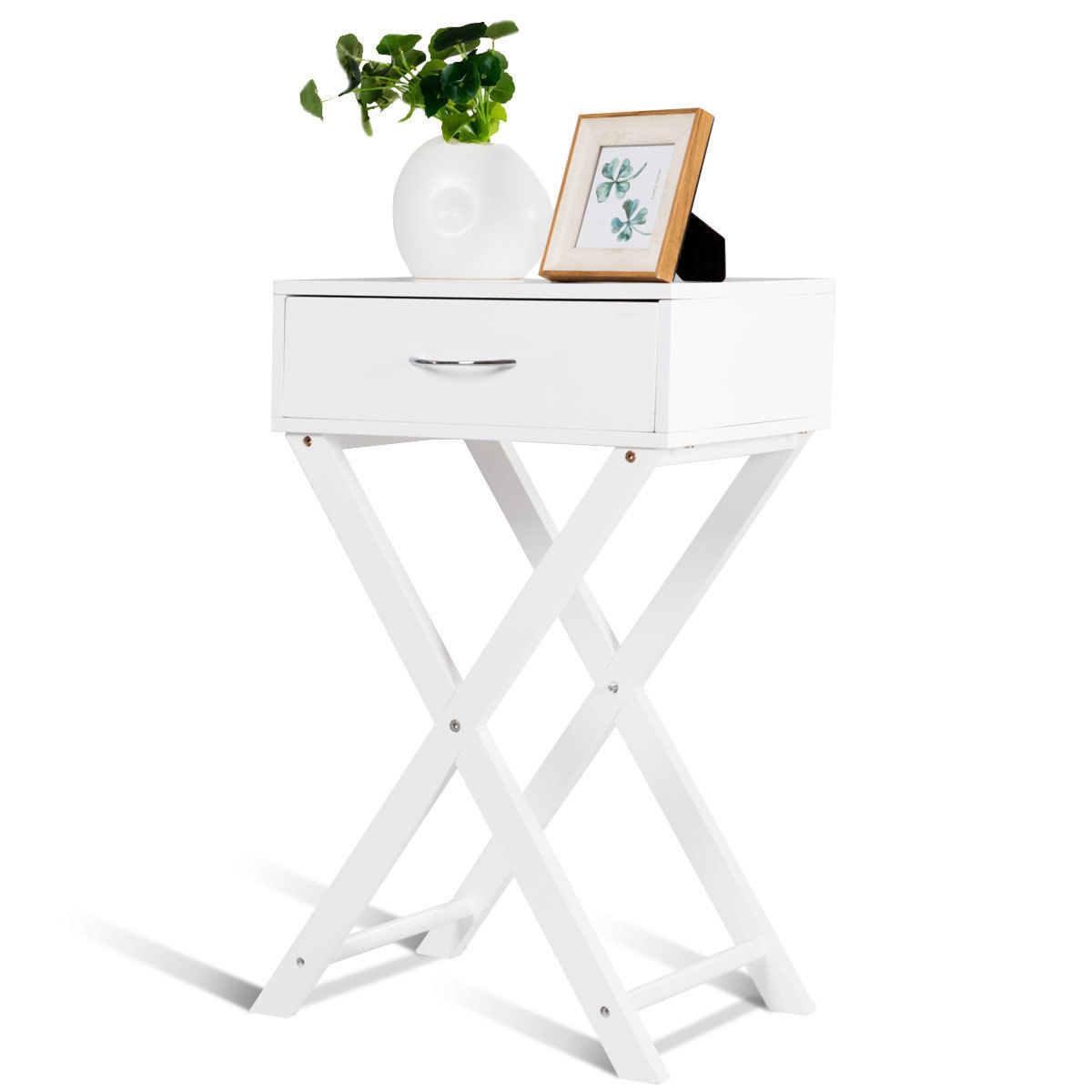 Costway nightstand x shape drawer accent side end table modern home furniture white 0