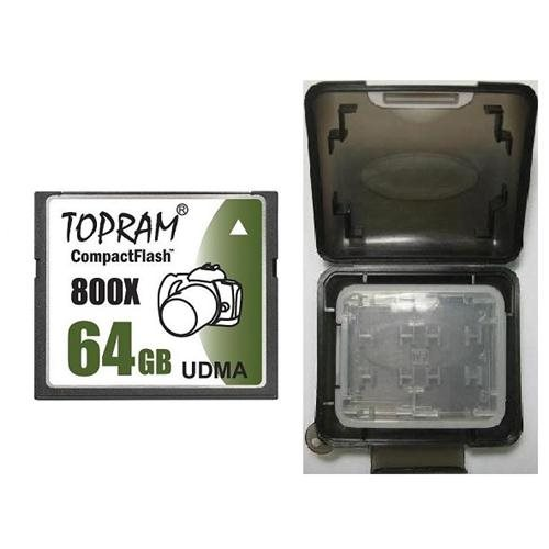 TOPRAM 64GB CF 64G CompactFlash Card 800X 120MB/s Extreme Speed UDMA 7 RAW with Multifunction Memory Protective Case 0