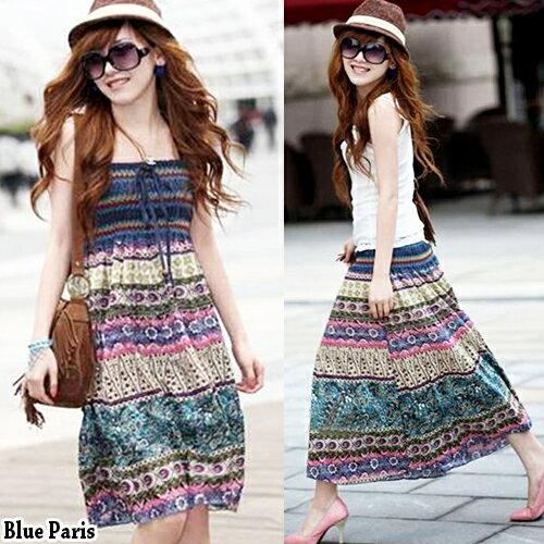 波洋裝 - 波西米亞亞麻連身裙 長裙 (可兩穿)【27103】《 5色》Blue Paris 0