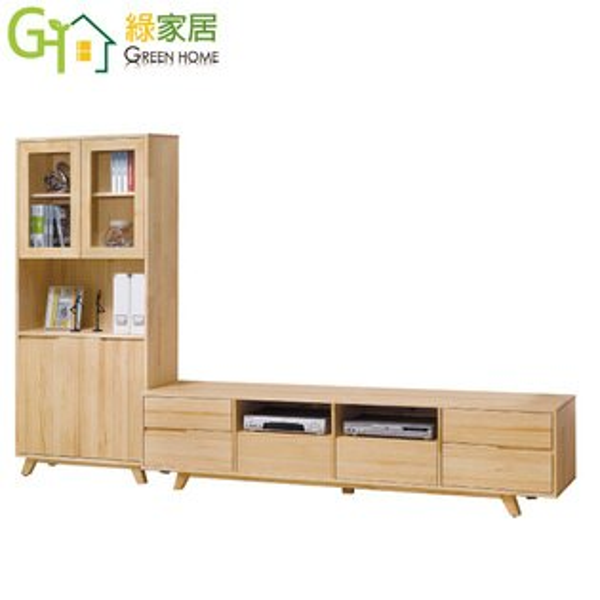 【綠家居】摩可娜時尚9.7尺實木L型電視櫃展示櫃組合
