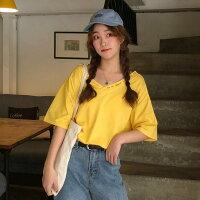 M-2XL 雙色字母圓領簡約純色百搭短袖上衣-零國界-流行女裝推薦
