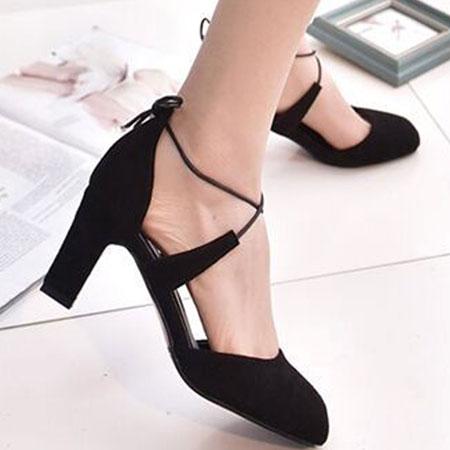高跟鞋 甜美性感綁帶圓頭粗高跟鞋【S1574】☆雙兒網☆ 5