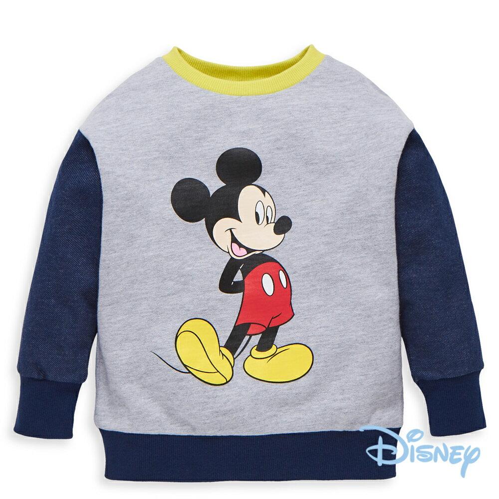 Disney 米奇系列復古配色圓領上衣-丈青