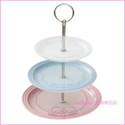 asdfkitty可愛家☆le creuset x sanrio限量聯名 雙子星三層陶瓷蛋糕架 粉紅色+藍色+白色-法國
