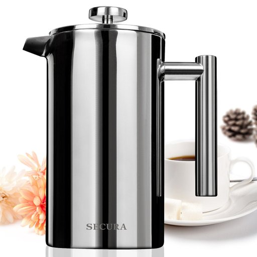 Secura Stainless Steel French Press Coffee Maker 18/10 Bonus Stainless Steel 64dc9cb102093a19795fa6df51db12d0