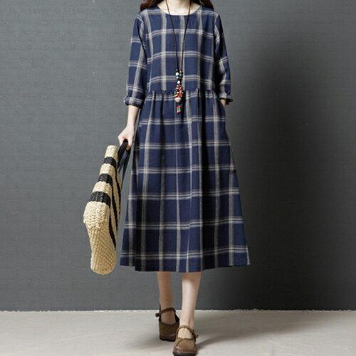 棉麻圓領格子連身裙(藍色M~2XL)【OREAD】 - 限時優惠好康折扣