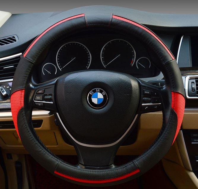A0209 黑紅真皮拚接三色方向盤套 護套 SKODA GM JEEP BUICK VOL