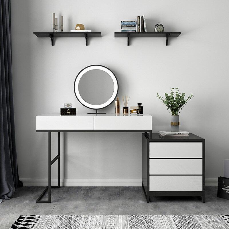 輕奢梳妝臺收納柜一體臥室化妝臺帶燈現代簡約北歐風小戶型化妝桌