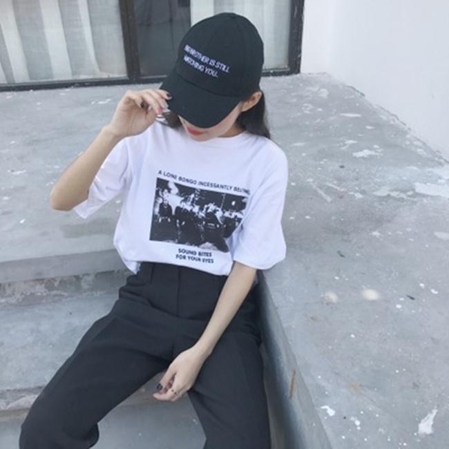 50%OFF SHOP~G022625C~實拍韓國官網  字母寬鬆圓領短袖T恤衫