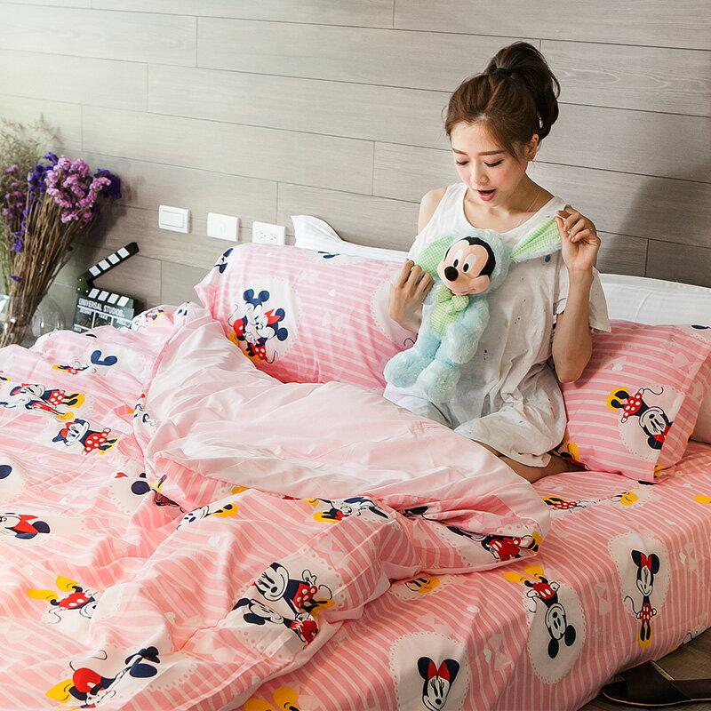 新品!床包 / 雙人【米奇手牽手-粉】含兩件枕套,磨毛多工法處理,迪士尼正版授權,戀家小舖,台灣製