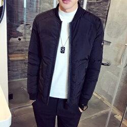 ★夾克外套棒球領棉衣-韓版時尚休閒保暖男外套2色73qa22【獨家進口】【米蘭精品】