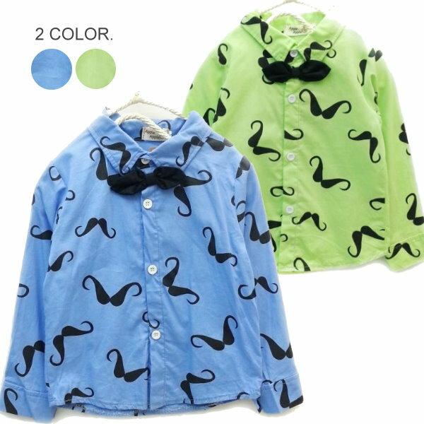 【班比納精品童裝】滿版翹鬍子領結襯衫-藍/綠--兩色可選【BO140813038/BO140813039】