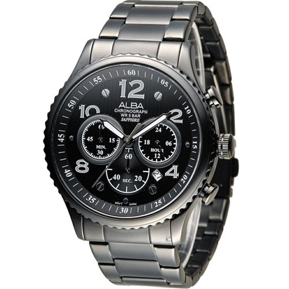 寶時鐘錶 ALBA 雅柏 休閒海軍風潮流腕錶 VD53-X236SD AT3953X1 黑