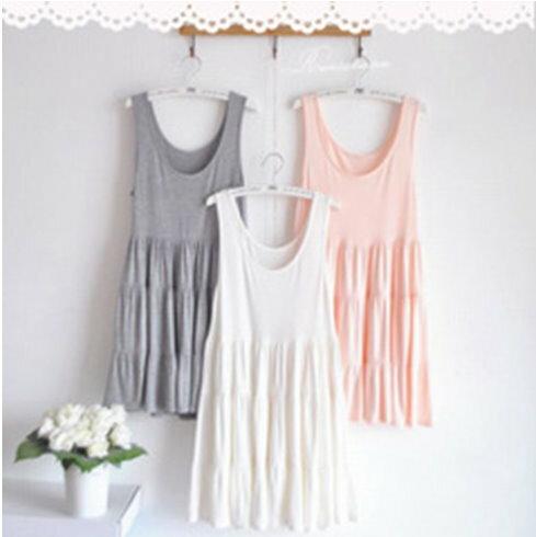 YJY舒適莫代爾棉蛋糕裙洋裝^~K20116^~~3色