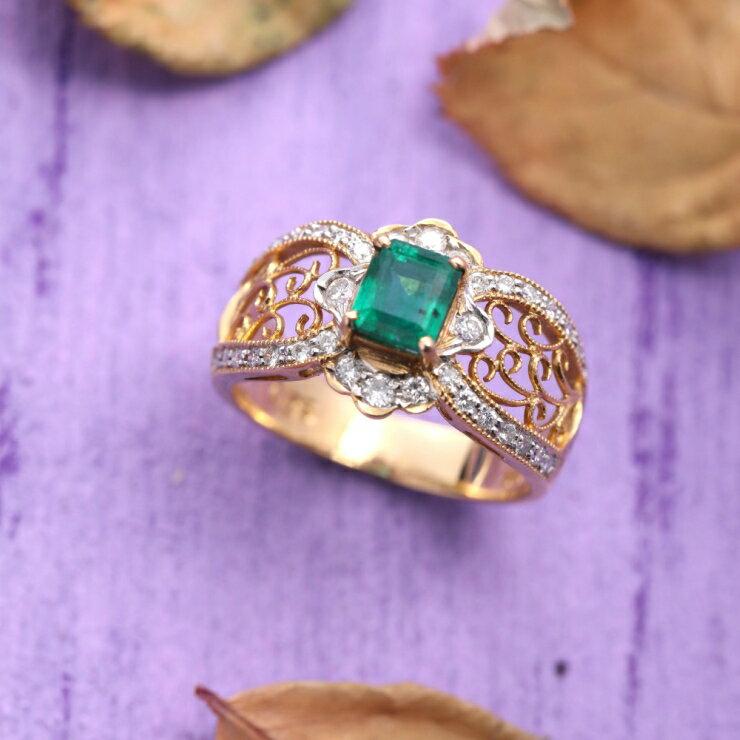 (๑•̀ㅂ•́)و✧Judy_store宅寶藏 💖優雅精緻💖18K金 天然哥倫比亞祖母綠戒指