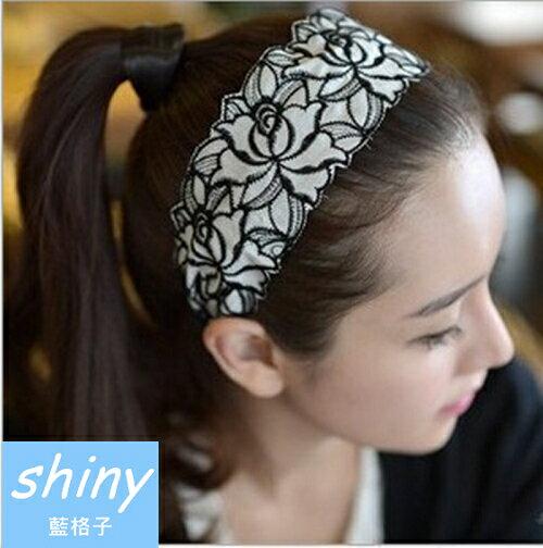 ~【DJW1307】shiny藍格子-玫瑰刺繡寬邊髮箍★7  1-7  3  599折50★