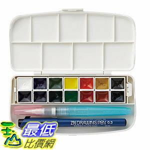 [106東京直購] 日本吳竹 KG301-1 14色set 固体透明水彩 附水毛筆 製圖筆