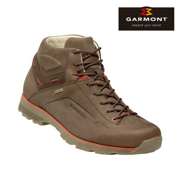 GARMONT男款Gore-Tex中筒休閒旅遊鞋MiguasaNubuckGTX481242213咖啡橘城市綠洲(休閒鞋、GoreTex、防水、黃金大底)