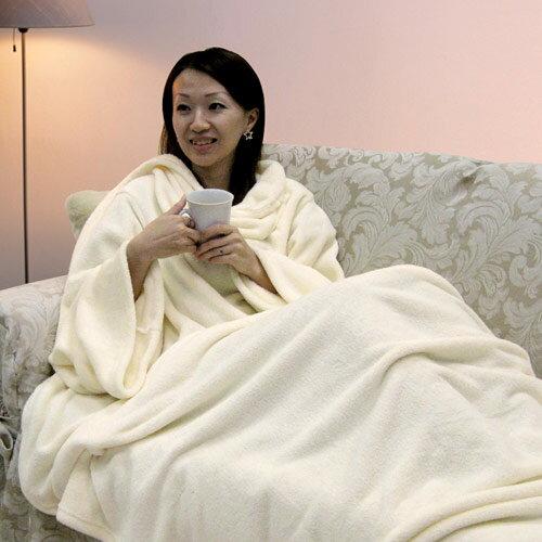 【樂邁】超細纖維創意袖毯-奶白色(137x180cm)