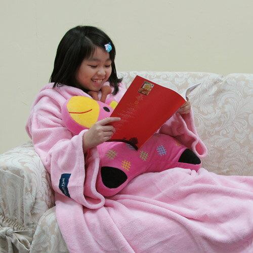 ~兒童限定版~【樂邁】超細纖維兒童創意袖毯-粉紅色(120x140cm)