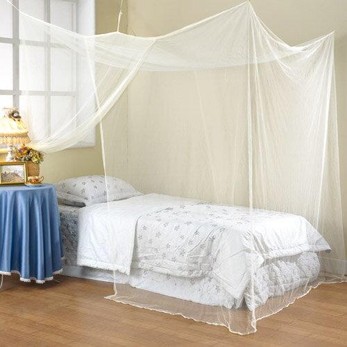 【極簡風】細網雙人加大四方蚊帳-米黃色(180x180cm)