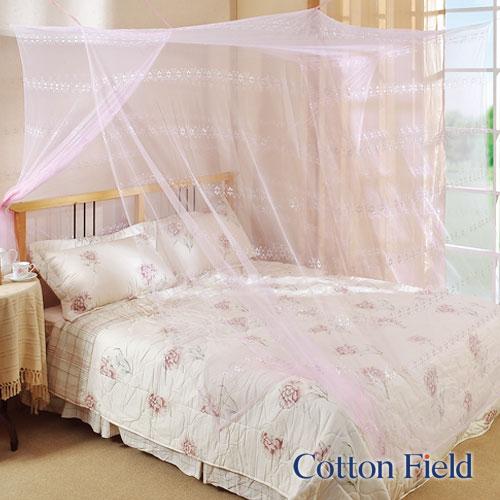 棉花田傢飾:【雅麗】細網提花雙人四方蚊帳-粉紅色(150x180cm)
