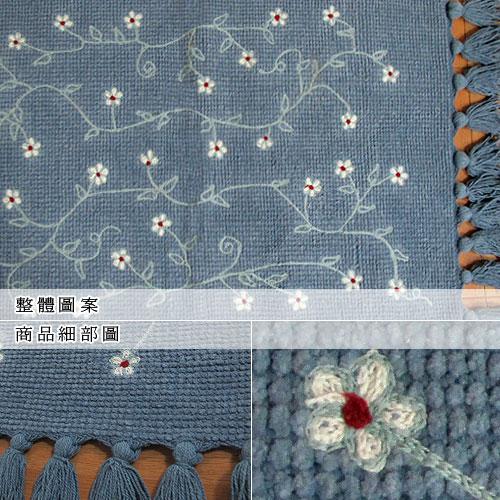 ★★  NG商品出清  ★★ 純棉刺繡編織鬚邊踏墊(45x70cm)