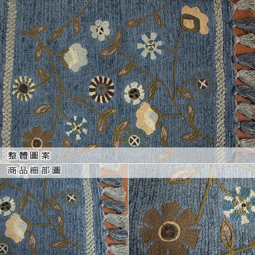 【艾菲-花園】純棉刺繡香奈絨編織鬚邊踏墊(45x70cm)