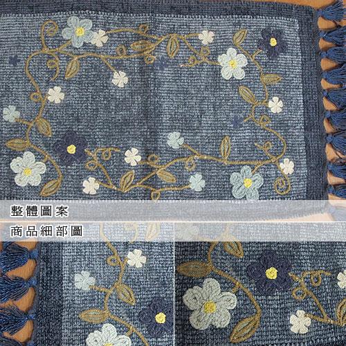 【艾菲-花藤】純棉刺繡香奈絨編織鬚邊踏墊(45x70cm)
