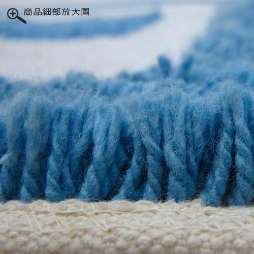 【格列】純棉提花踏墊-藍色(45x70cm)