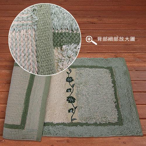 【蔓緹-綠】純棉刺繡編織踏墊(45x70cm)