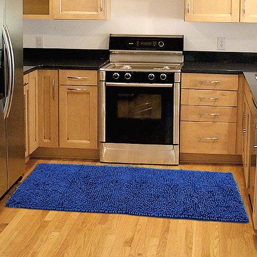 PARKAVENUE【精彩】超細纖維雪尼爾防滑走道毯-藍色(45x135cm)