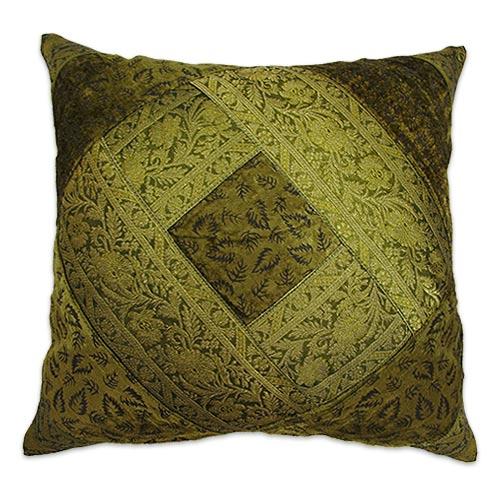 ★★NG商品出清★★【蔓麗】植絨刺繡抱枕套-綠金色(40x40cm)