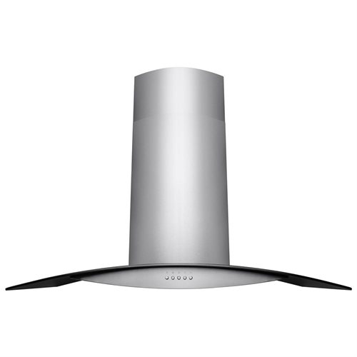 "30"" Stainless Steel Wall Mount Range Hood Black Tempered Glass Aluminum Grease Filter 2"