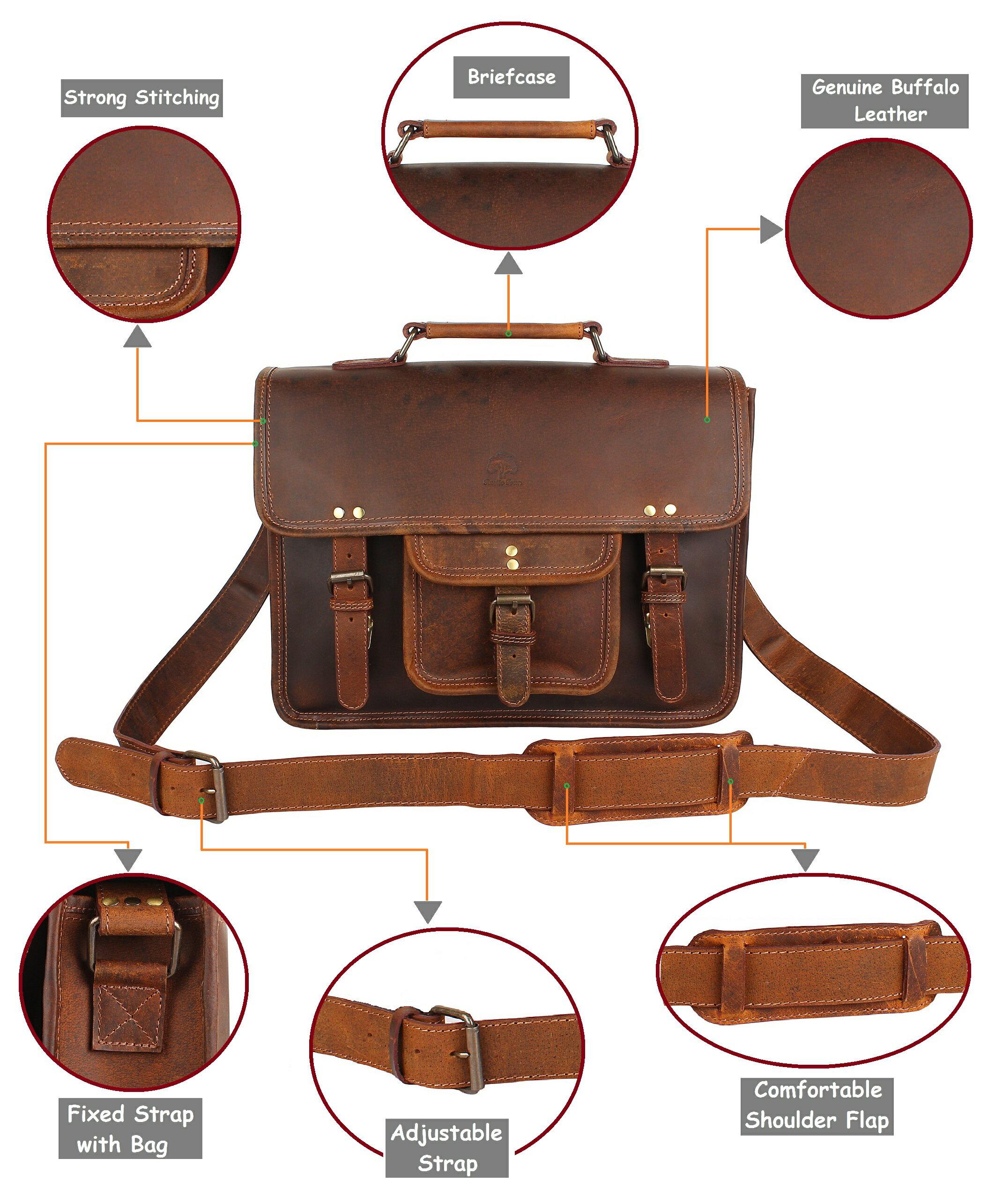 84d9ca0c4cf3 15 Inch Leather Vintage Rustic Crossbody Messenger Courier Satchel Bag Gift  Men Women ~ Business Work