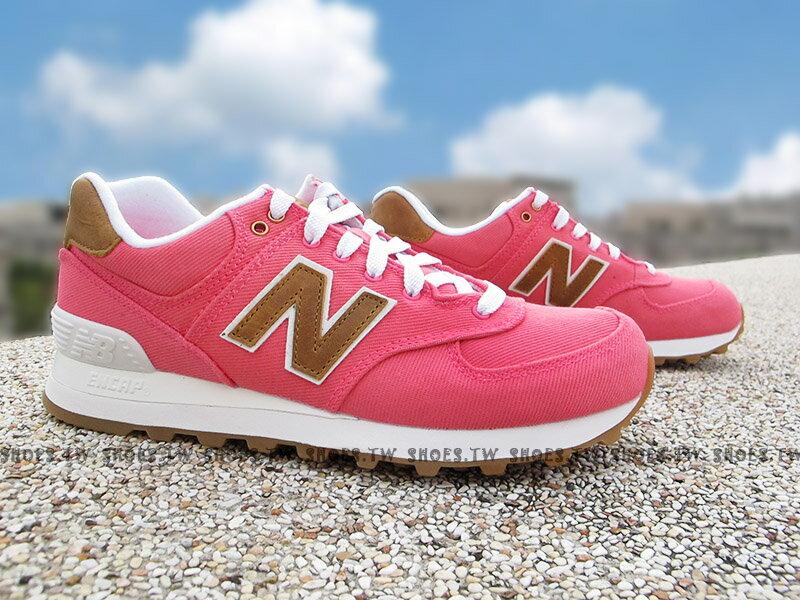 Shoestw【WL574CDA】NEW BALANCE NB574 復古慢跑鞋 螢光桃 卡其 牛仔布 女生尺寸