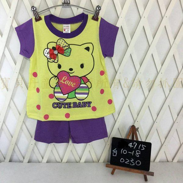 ☆╮寶貝丹童裝╭☆ 台灣製造 可愛 貓咪 圖案 透氣 舒適 女童 上衣+小褲 短袖 套裝 新款 ☆