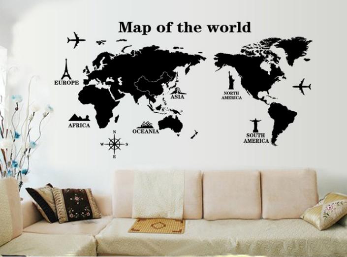 【壁貼王國】 地圖系列 無痕壁貼《黑色世界地圖 - AY9133》