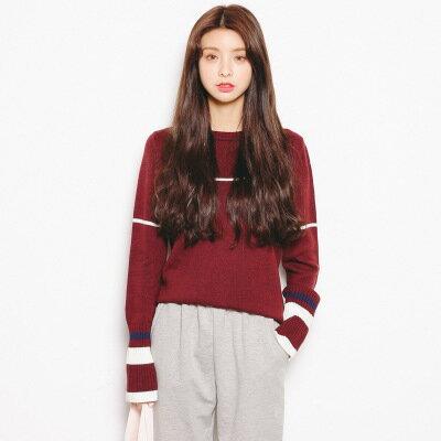 [全店免運] 韓版條紋撞色長袖針織衫 /  樂天時尚館