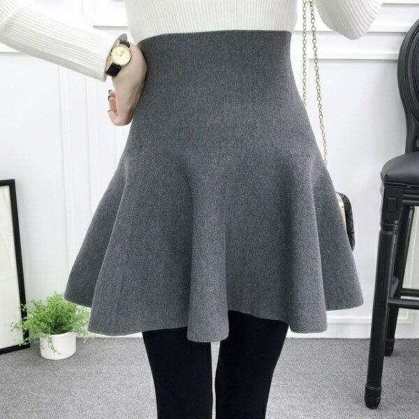 針織 短裙 A字裙 蓬蓬裙 高腰 長腿 百搭 顯瘦 傘裙 百褶 荷葉波浪 彈性 韓 黑灰藍