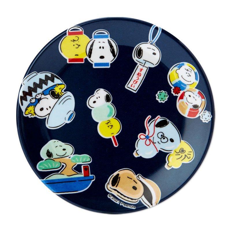 預購 史努比snoopy 變身和風 藍 樹脂小盤皿 GD73 小菜盤 圓碟子 小盤 平盤 盤 真愛日本